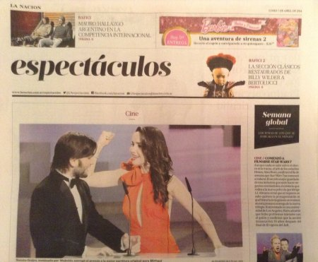 Happy to see Lucas Vidal and Natalia Oreiro on the front page of LA NACION